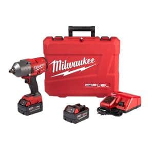 M18 FUEL 18-Volt Lithium-Ion Brushless Cordless 1/2 in. Impact Wrench W/ Pin Detent Kit W/ (2) 5.0Ah Batteries