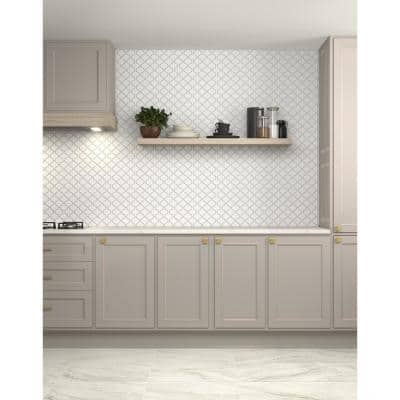 Restore Bright White 11 in. x 12 in. Glazed Ceramic Arabesque Mosaic Tile (0.74 sq. ft./Piece)