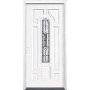 36 in. x 80 in. Providence Center Arch Primed White Right-Hand Inswing Steel Prehung Front Exterior Door with Brickmold