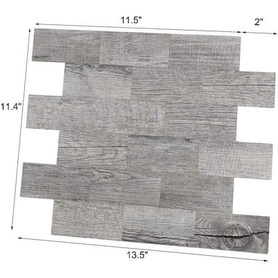 13.5 in. x 11.4 in. Aluminum-plastic Composite Backsplash in Wood Peel and Stick Waterproof Tiles (10-Piece)