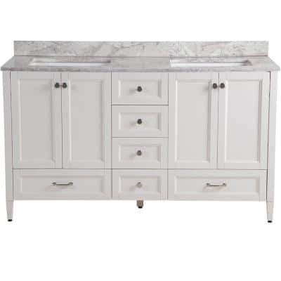 Claxby 61 in. W x 22 in. D Bathroom Vanity in Cream with Stone Effects Vanity Top in Winter Mist with White Sink
