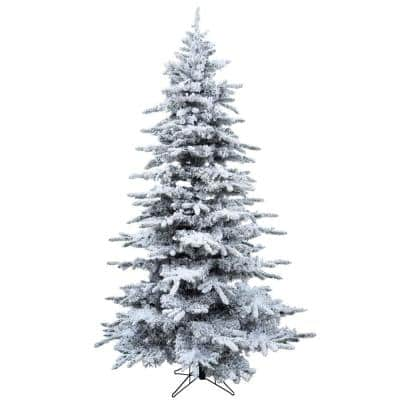 7.5 ft. Silverado Pine White Flocked Slim Christmas Tree with Stand
