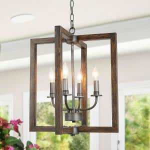 Farmhouse Chandelier 4-Light Modern Rectangular Chandelier Pendant Light with Black Silver Brushed and Faux Wood Finish