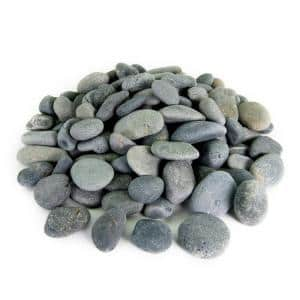 0.25 cu. ft. 2 in. to 3 in. Black Mexican Beach Pebble Smooth Round Rock for Gardens, Landscapes and Ponds