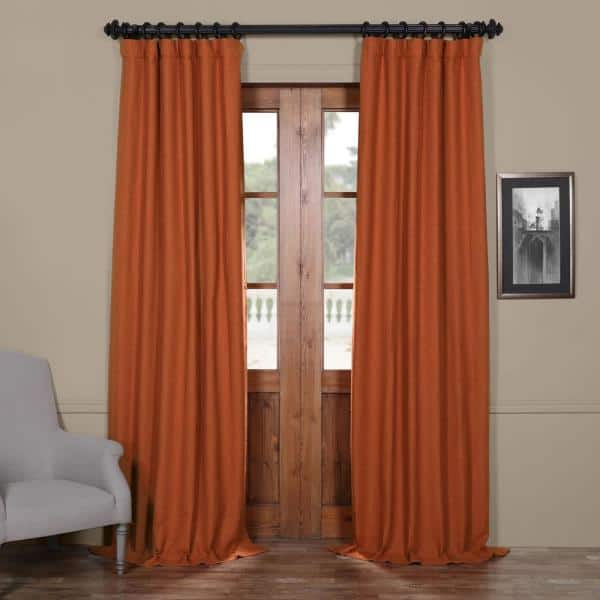 Exclusive Fabrics Furnishings Persimmon Rod Pocket Blackout Curtain 50 In W X 96 In L Boch Pl1609 96 The Home Depot