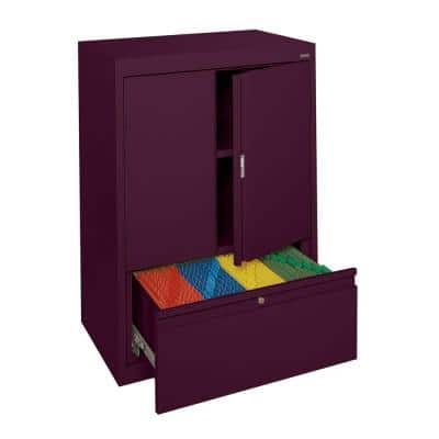 System Series 30 in. W x 42 in. H x 18 in. D Counter Height Storage Cabinet with File Drawer in Burgundy