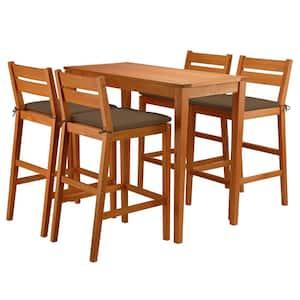 5-Piece Eucalyptus Grandis Wood Bar Outdoor Table Set with Chocolate Cushions