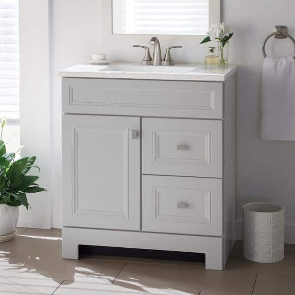 Home Decorators Collection Sedgewood 30 1 2 In W Bath Vanity In Dove Gray With Solid Surface Technology Vanity Top In Arctic With White Sink Pplnkdvr30d The Home Depot