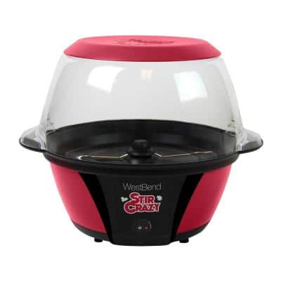 Stir Crazy 6 oz. Red Electric Hot Oil Popcorn Popper Machine with Stirring Rod Large Lid with Improved Butter Melting