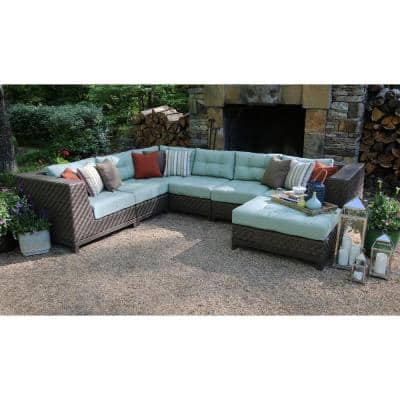 Dawson 7-Piece Patio Sectional Seating Set with Sunbrella Fabric with Spa Green Cushions