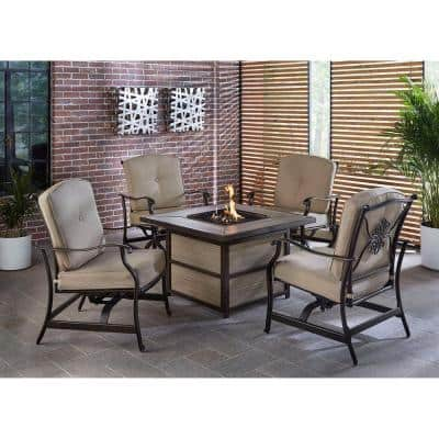Traditions 5-Piece Aluminum Patio Fire Pit Conversation Set with Natural Oat Cushions