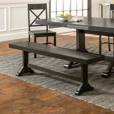 """60"""" Traditional Wood Trestle Dining Bench - Antique Black"""