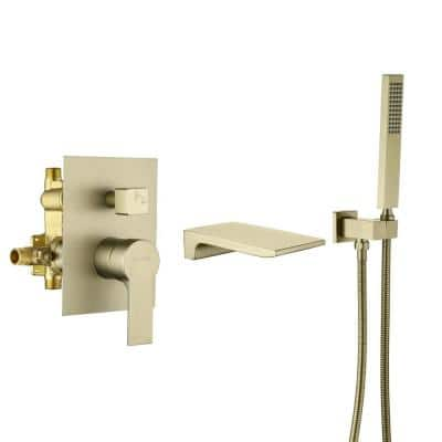 Single-Handle Wall Mount Roman Tub Faucet with Hand Shower in Brushed Gold