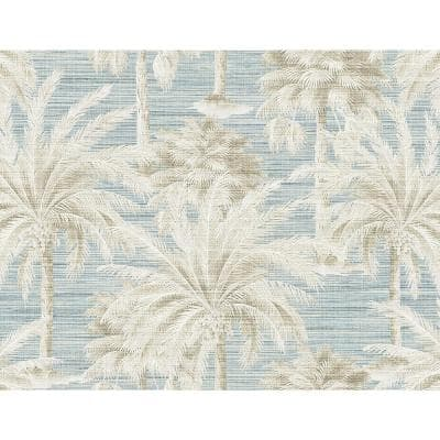 Dream Of Palm Trees Blue Texture Blue Paper Strippable Roll (Covers 60.8 sq. ft.)