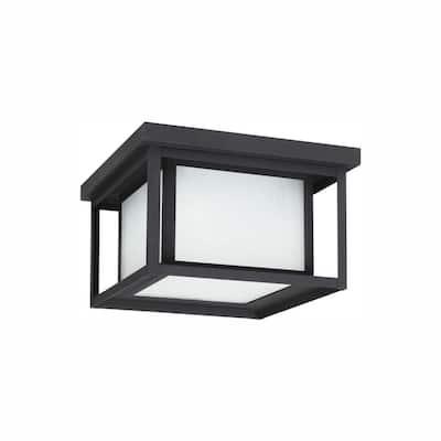 Hunnington 10 in. W. Black 2-Light Outdoor Flush Mount with LED Bulb
