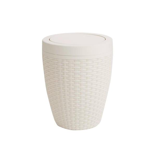 Mind Reader 1 84 Gal Plastic Ivory Round Bathroom Garbage Bin Trash Can Wastebasket With Lid Rbbin Ivo The Home Depot