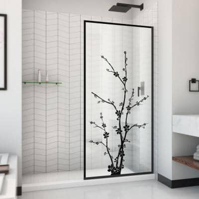 Linea Blossom 34 in. W x 72 in. H Frameless Fixed Shower Screen in Satin Black without Handle