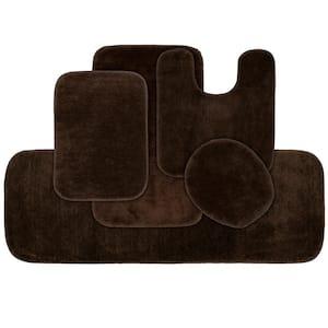 Traditional Chocolate 5-Piece Washable Bathroom Rug Set