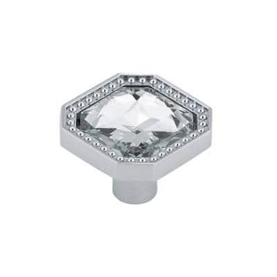 1-1/4 in. (32 mm) x 1-1/4 in. (32 mm) Crystal, Chrome Contemporary Metal, Crystal and Glass Cabinet Knob