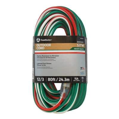 80 ft. 12/3 SJTW Outdoor Heavy-Duty Extension Cord with Power Light Plug, Red/White/Green