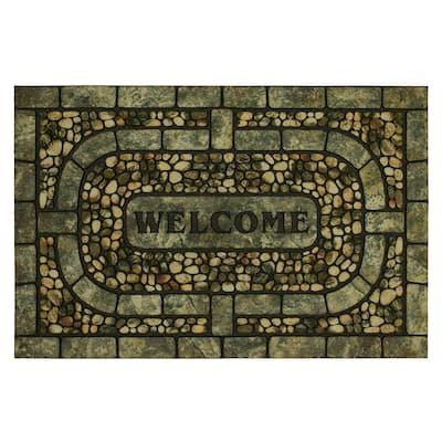 Welcome Garden Pebbles Gray 23 in. x 35 in. Doorscapes Estate Mat