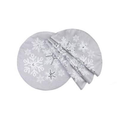 16 in. Glistening Snow Christmas Round Placemats (4-Set)
