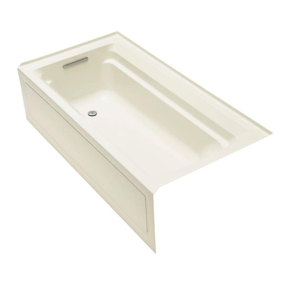 Kohler Archer 72 In X 36 In Acrylic Alcove Bathtub With Integral Apron And Left Hand Drain In White K 1125 La 0 The Home Depot