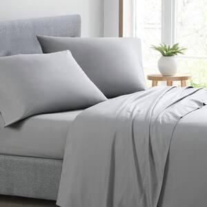 Ed T200 Solid Dark Grey 4-Piece Cotton Queen Sheet Set