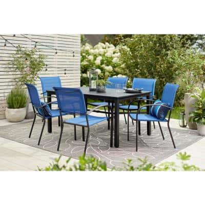 Mix and Match Black Rectangle Metal Outdoor Patio Dining Table with Slat Top