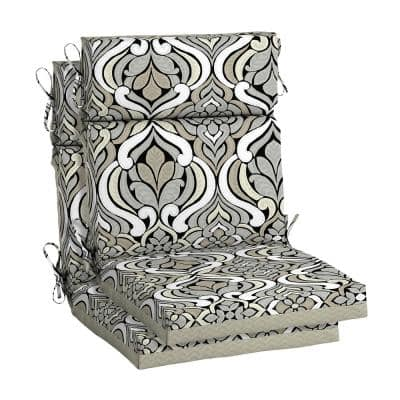 DriWeave 21.5 x 44 Black and Gray Tile High Back Outdoor Chair Cushion (2-Pack)