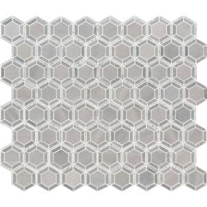Hexagono Grigio 12.4 in. x 12.4 in. x 10 mm Polished Marble Mosaic Tile (10.6 sq. ft. / case)