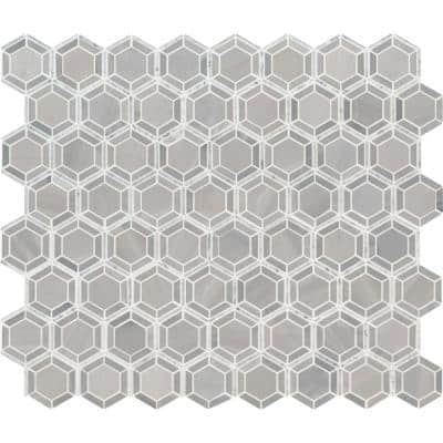 Hexagono Grigio 12.4 in. x 12.4 in. x 10mm Polished Marble Mesh-Mounted Mosaic Tile (10.6 sq. ft. / case)