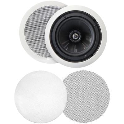 125W 6.5 in. Weather-Resistant In-Ceiling Speakers, Pivoting Tweeters, Metal and Cloth Grills