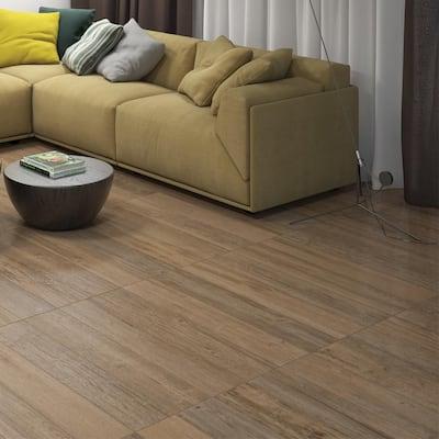 Woodshed Brown 7 in. x 36 in. Matte Ceramic Floor Tile (15.43 sq. ft. / carton)