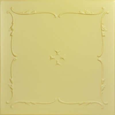 Spring Buds 1.6 ft. x 1.6 ft. Glue Up Foam Ceiling Tile in Concord Ivory