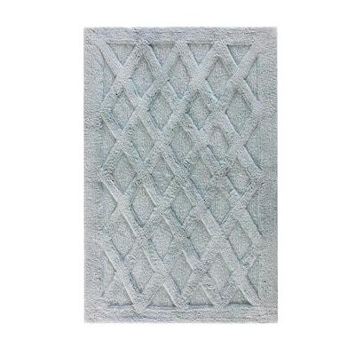 Alderbury Blue 30 in. x 50 in. Geometric Cotton Bath Mat
