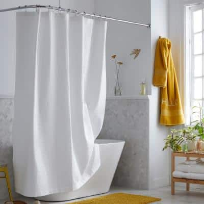 Company Cotton 72 in. White Shower Curtain