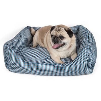 Rectangular Medium Blue Plaid Bed