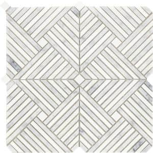 Alluro Silver 12.01 in. x 12.01 in. Basketweave Polished Marble Mosaic Tile (1.001 sq. ft./Each)