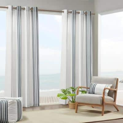 Bolinas 54 in. W x 84 in. L Light Filtering Printed Stripe 3M Scotchgard Outdoor Panel in Black