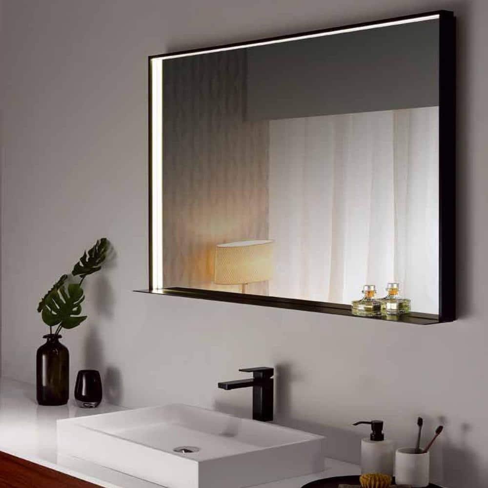 Dreamwerks 40 In W X 24 In H Framed Rectangular Led Light Bathroom Vanity Mirror In Black Dmlh013 The Home Depot