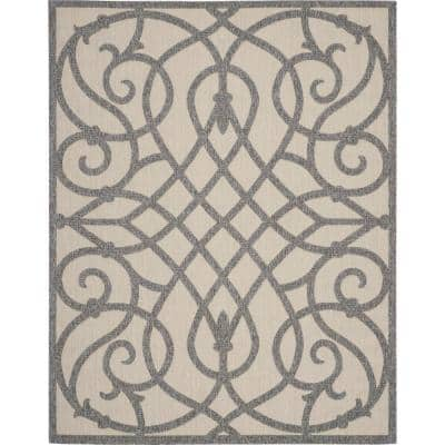 Nourison Palamos Cream Grey 8 Ft X 10 Ft Geometric Contemporary Indoor Outdoor Area Rug 775009 The Home Depot