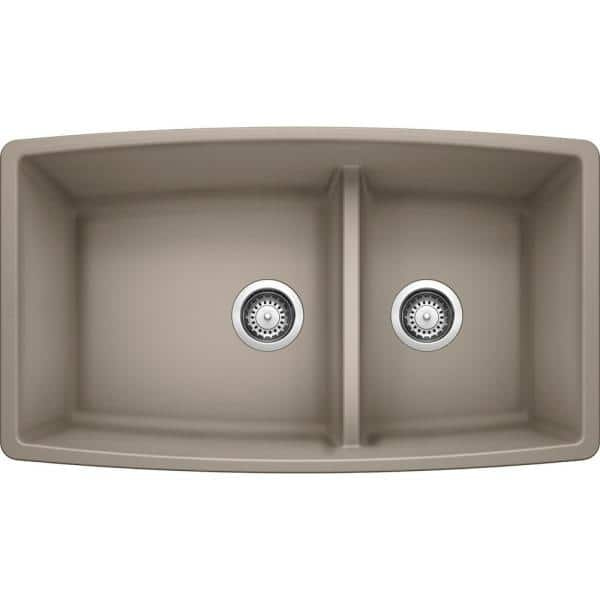 Blanco Performa Undermount Granite Composite 33 In 60 40 Double Bowl Kitchen Sink With Low Divide Truffle 441315 The Home Depot