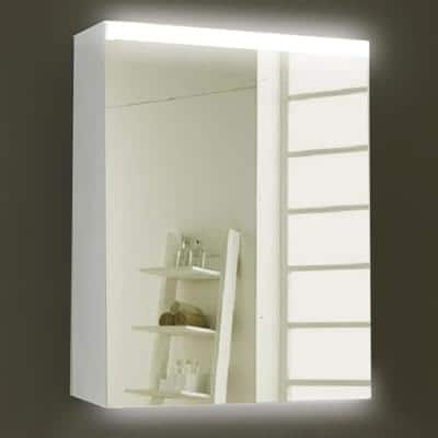 24 in. x 30 in. x 4 in. Silver Surface Mount Medicine Cabinet with Mirror and LED Lighted
