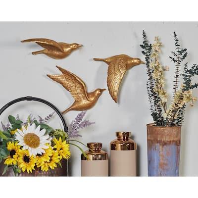 Metallic Gold Polystone Birds Wall Decor (Set of 3)