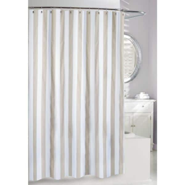 Beige And White Fabric Shower Curtain, Shower Curtains Gray And Beige