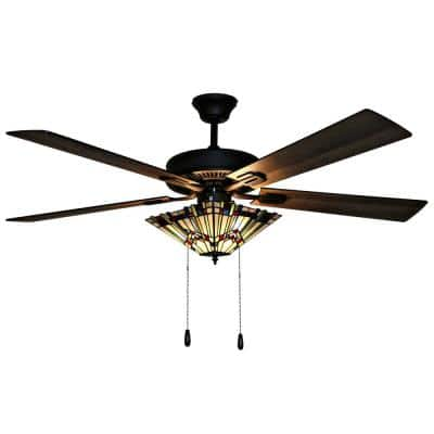 Michelangelo Mission 52 in. Stained Glass LED Ceiling Fan With Light