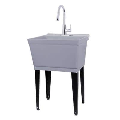 Complete 22.875 in. x 23.5 in. Grey 19 Gal. Utility Sink Set with Metal Hybrid Chrome High Arc Pull-Down Faucet