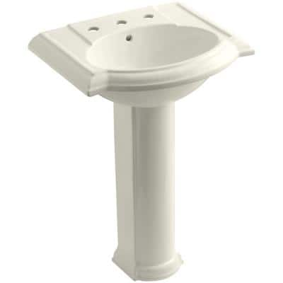 Devonshire Vitreous China Pedestal Combo Bathroom Sink with 8 in. Widespread Faucet Holes in Biscuit with Overflow Drain