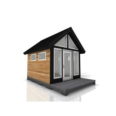 Installed Shed Rustica Series Refuge 10 ft. x 12 ft. Backyard Studio with Cedar Siding, Wood Foundation and Deck